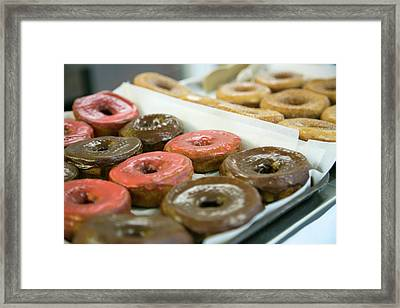 Close Up Of Doughnuts, Springfield Framed Print by Julien Mcroberts
