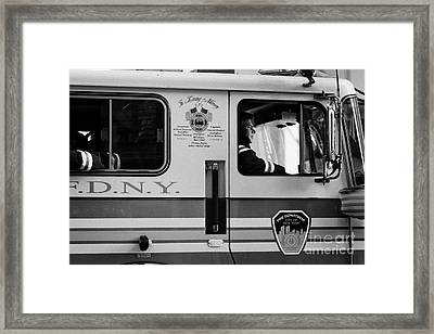 close up of FDNY fire engine and driver new york city Framed Print