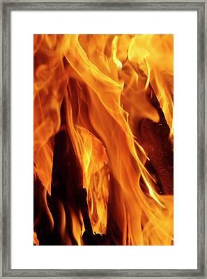 Close-up Of Fire Flames, Jodhpur, India Framed Print