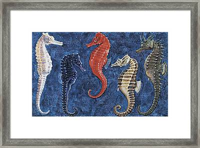 Close-up Of Five Seahorses Side By Side  Framed Print by English School