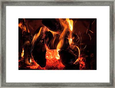 Close-up Of Flames Framed Print