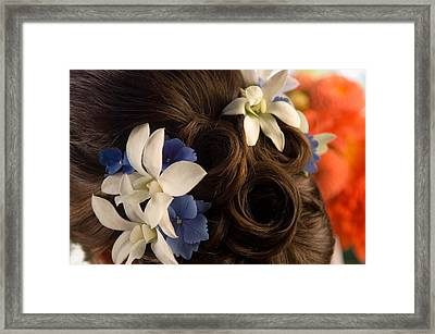 Close-up Of Flowers In A Brides Hair Framed Print