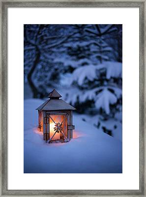 Close Up Of Glowing Lantern In Snow Framed Print by Cultura Rm Exclusive/christoffer Askman
