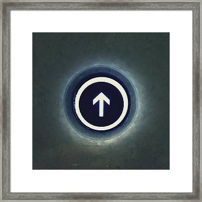 Close-up Of Going Up Button Of Elevator Framed Print by Jeff Griffin / Eyeem