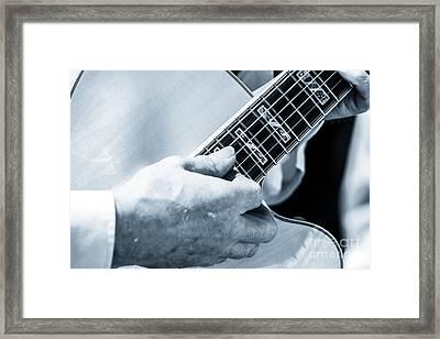 Close Up Of Guitarist Hand Strumming Framed Print