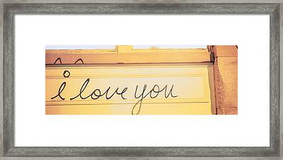 Close-up Of I Love You Written On A Wall Framed Print by Panoramic Images