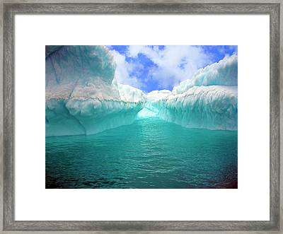 Close Up Of Iceberg With Fluted Framed Print