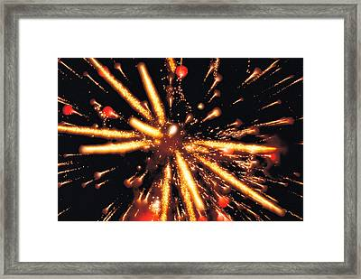 Close Up Of Ignited Fireworks Framed Print by Panoramic Images