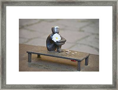 Close-up Of Iron Boy Statue, Gamla Framed Print by Panoramic Images