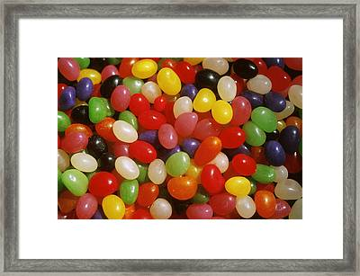 Close Up Of Jelly Beans Framed Print by Anonymous