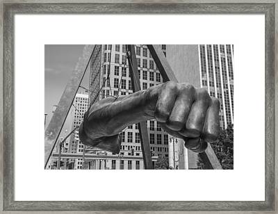 Close Up Of Joe Louis Fist Black And White  Framed Print