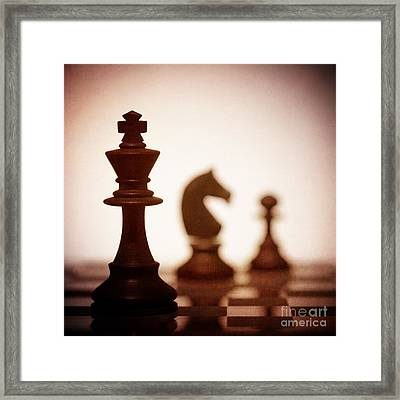 Close Up Of King Chess Piece Framed Print by Amanda Elwell