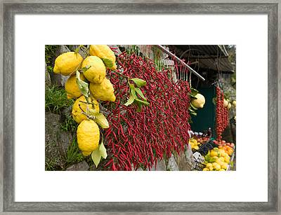 Close-up Of Lemons And Chili Peppers Framed Print