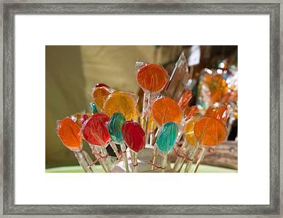 Close-up Of Lollipops, Hippie Market Framed Print