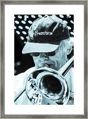 Close Up Of Male Trombone Player In Baseball Cap Framed Print