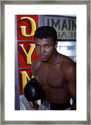 Close Up Of Muhammad Ali Framed Print by Retro Images Archive