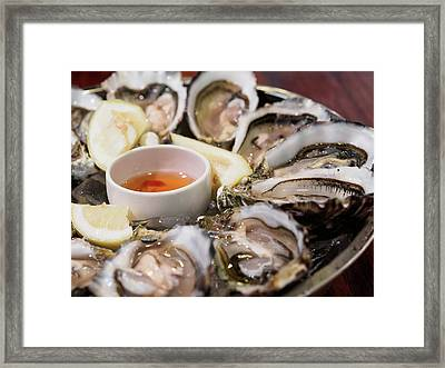 Close-up Of Oysters Served In Plate Framed Print by Kelvin Kam / Eyeem