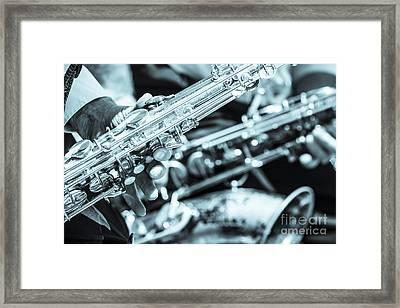 Close Up Of Saxophonist Fingering Framed Print