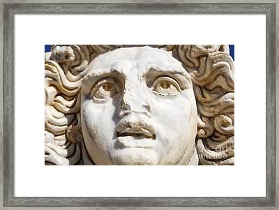 Close Up Of Sculpted Medusa Head At The Forum Of Severus At Leptis Magna In Libya Framed Print