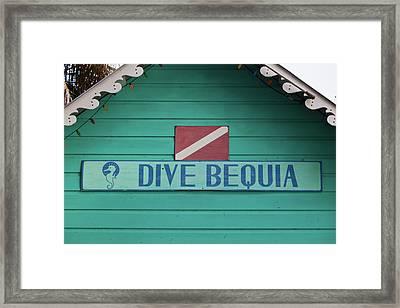 Close-up Of Sign Dive Bequia, Port Framed Print