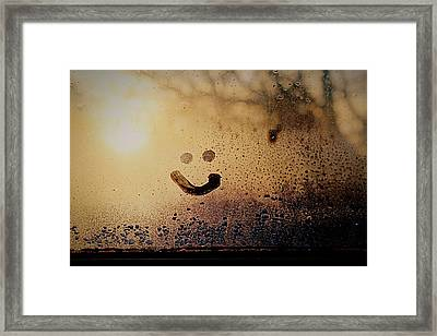 Close-up Of Smiley On Condensed Glass Framed Print by Lacy Custance / Eyeem