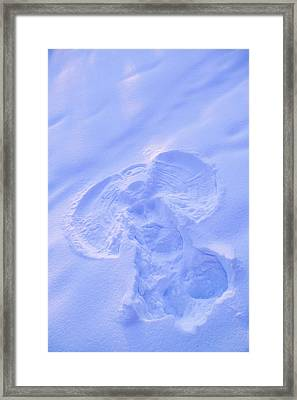 Close Up Of Snow Angel At Sunset With Framed Print by Kevin Smith