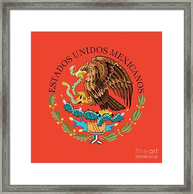 Close Up Of The Seal Within The Mexican National Flag Framed Print