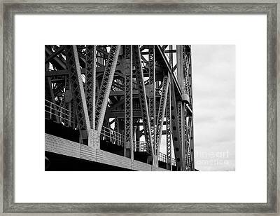 close up of the steel girders of the Broadway Bridge over the Harlem River new york city Framed Print