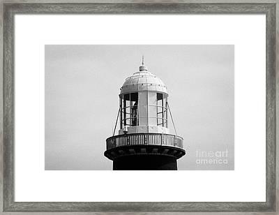 close up of the top East Light lighthouse Altacarry Altacorry head Rathlin Island  Framed Print by Joe Fox