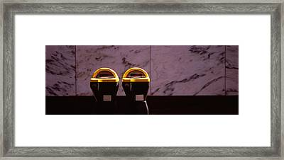 Close-up Of Two Expired Parking Meters Framed Print