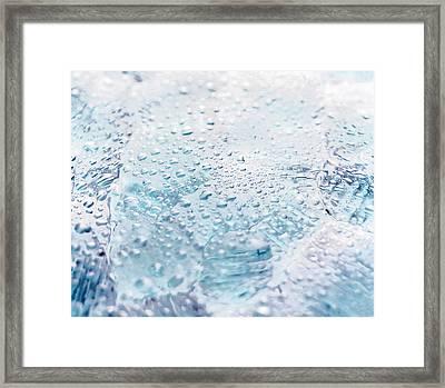 Close Up Of Water Droplets On Lavender Framed Print