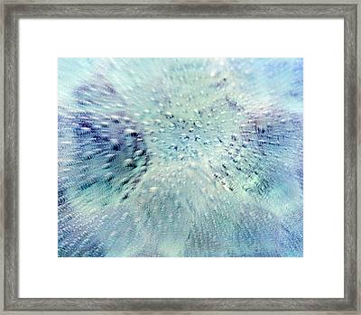 Close Up Of Water Droplets On Pale Blue Framed Print
