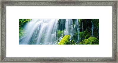 Close-up Of Waterfall On Moss Covered Framed Print