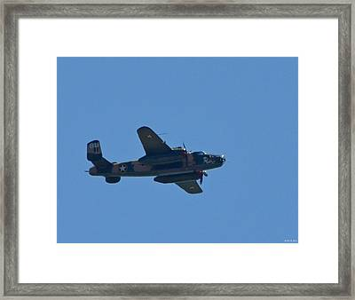 Close Up Of Yellow Rose Wwii B25 Bomber Over Florida 21 April 2013 Framed Print