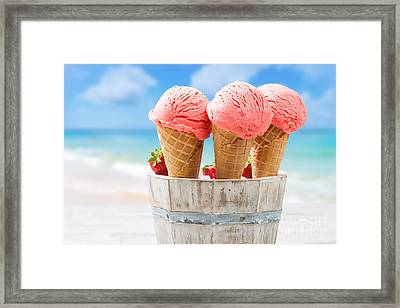 Close Up Strawberry Ice Creams Framed Print