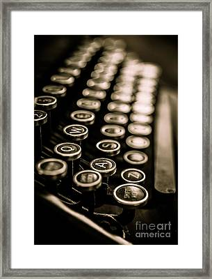Close Up Vintage Typewriter Framed Print by Edward Fielding