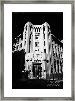 closed branch of banco estado the state bank Santiago Chile Framed Print by Joe Fox