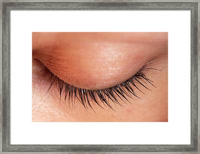 Closed Eye Of Young Woman Showing Eyelid Framed Print