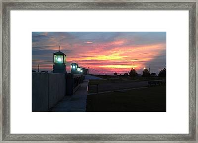 Closed Flood Gates Sunset Framed Print