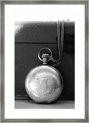 Closed Pocket Watch In Black And White Framed Print by CJ Rhilinger
