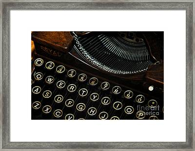 Closeup Of Antique Typewriter Framed Print by Amy Cicconi