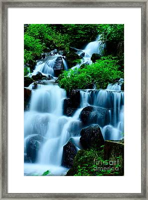 Closeup Of Beautiful Waterfall In Karuizawa Japan Framed Print