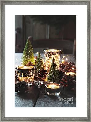 Closeup Of Candles And Decorations For The Holidays Framed Print