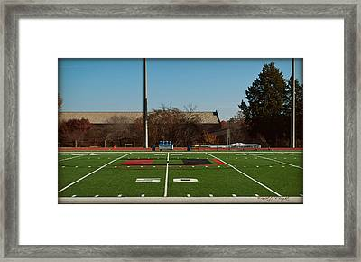Closeup Of Fifty Yard Line At Richardson Stadium Framed Print by Paulette B Wright