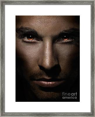 Closeup Of Man Face With Shining Fierce Eyes Framed Print