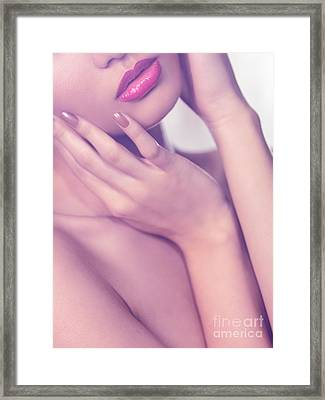 Closeup Of Sensual Woman Mouth And Pink Lips Framed Print by Oleksiy Maksymenko