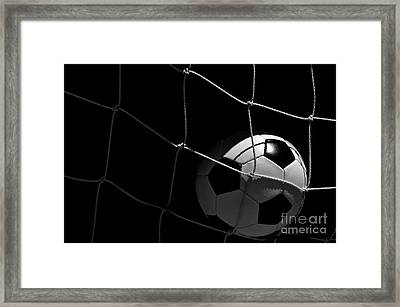 Closeup Of Soccer Ball In Goal Framed Print