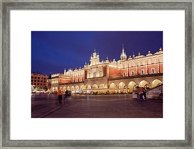 Cloth Hall In The Old Town Of Krakow At Night Framed Print