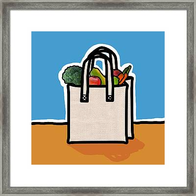 Cloth Shopping Bag With Vegetables Framed Print