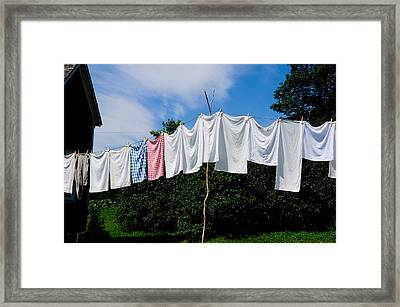 Clothes Line Framed Print by Bonnie Fink